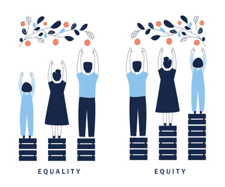 Equality and Equity Concept Illustration. Human Rights, Equal Opportunities and Respective Needs. Modern Design Vector Illustration Vektorgrafik
