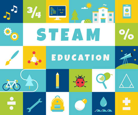 Steam Education at School Colorful Banner. Science Technology, Engineering, Arts, Math. Vector Design