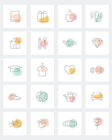 Social Media Story Highlight Cover. Lifestyle Line Icons and Natural Organic Shapes. Daily Planner Icons. Vector Design