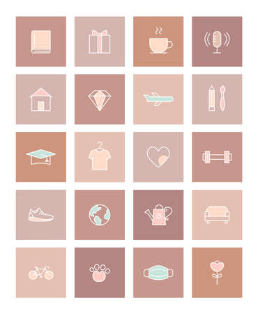 Activities and Lifestyle Icons Social Media Story Highlights Covers. Pastel and Terracotta Flat Vector Design Ilustracja