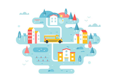 School Bus Going through Town Streets. Remote Area Transport Service Scheme. Illustrated Map Vector Design Ilustracja