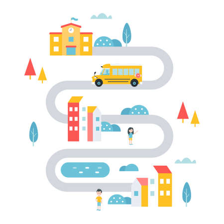 School Transport Service in Town, Countryside or Remote Area. Flat Vector Illustration Ilustracja