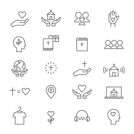 Church and Ministry Line Icons. Flat Vector Design