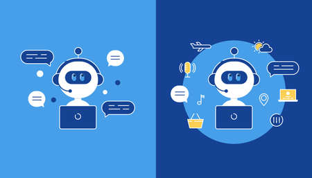 Chatbot, Artificial Intelligence or Virtual Assistant Application Illustration. Flat Vector Design Ilustracja