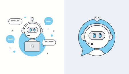 Chatbot, Artificial Intelligence or Virtual Assistant Application Illustration Icons. Flat Line Vector Design Ilustracja