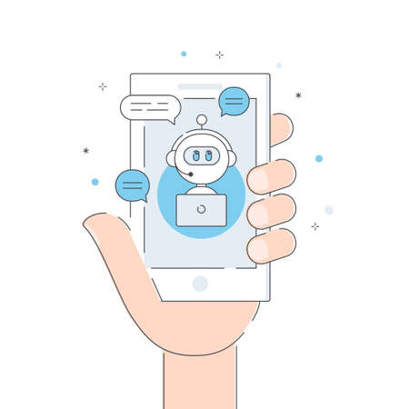 Chatbot , Artificial Intelligence or Virtual Assistant Application. Smartphone Held in Hand. Vector Flat Line Illustration Ilustracja