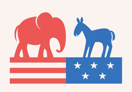 Elephant and Donkey Symbols of Republican and Democratic Party. USA Elections Campaign. Flat Vector Illustration Ilustracja