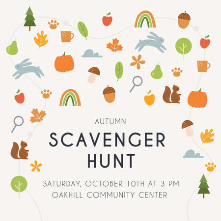 Autumn Scavenger Hunt Game or Woodland Walk Card, Poster or Invitation. Vector Design