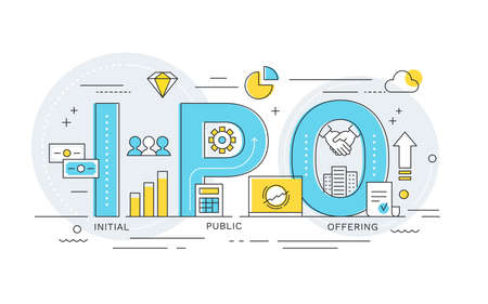 IPO or Initial Public Offering Word Illustration. Flat Vector Design Ilustracja