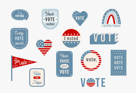 US Election Day and Voting Theme Stickers and Badges. Vector Design