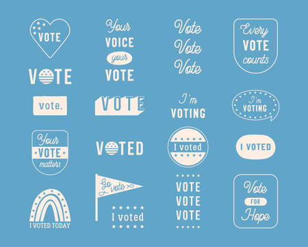 Election Day and Voting Theme Vector Overlay Designs, Badges and Stickers
