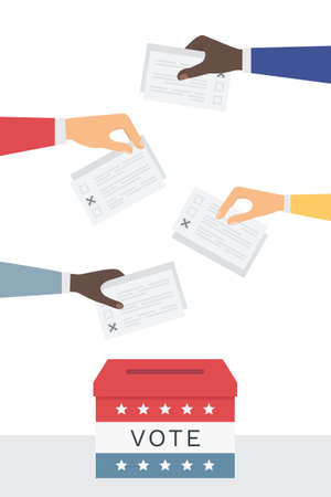 Voting and Election Day and Campaign in United States. Concept Illustration. Vector Design Ilustração