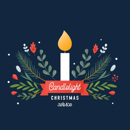 Candle and Ornaments Christmas Eve Candlelight Service Invitation. Vector Design Vektorgrafik