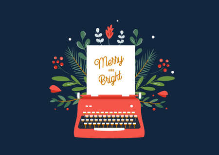 Christmas and Winter Holidays Theme Illustration of Red Typewriter and Green Ornament. Merry and Bright Sign. Vector Design 向量圖像