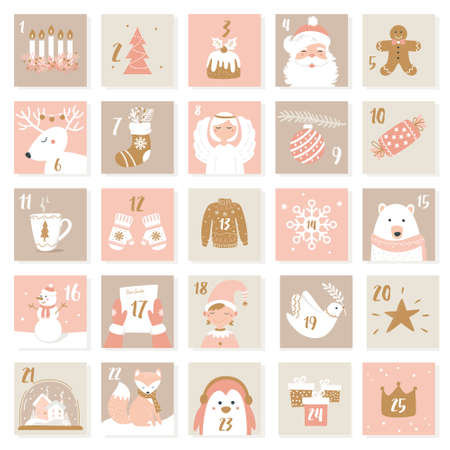 Christmas and New Year Celebration Symbols. Advent Calendar or Cards Set. Neutral and Pink Colours. Vector Set