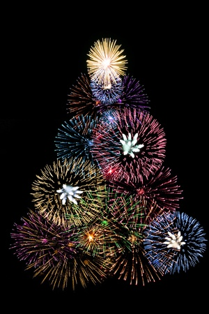 Christmas tree made with fireworks Stock Photo
