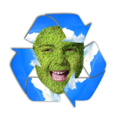 recycling symbol with girl face photo