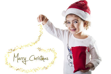 Little girl covered with dust magical christmas photo