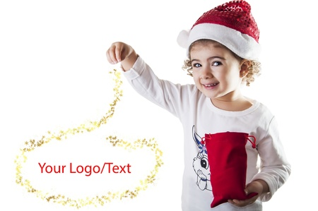 Little girl covered with dust magical christmas Stock Photo - 16693549