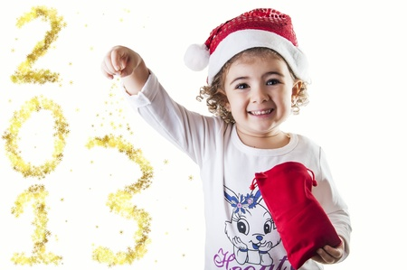smiling little girl wishing you a happy new year
