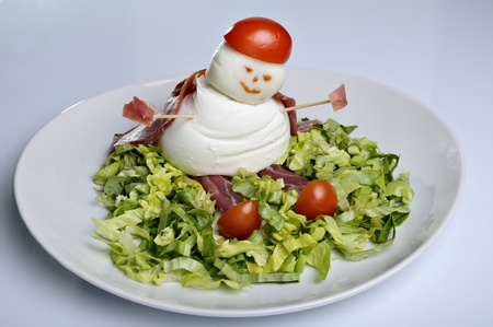 little man made of buffalo mozzarella photo