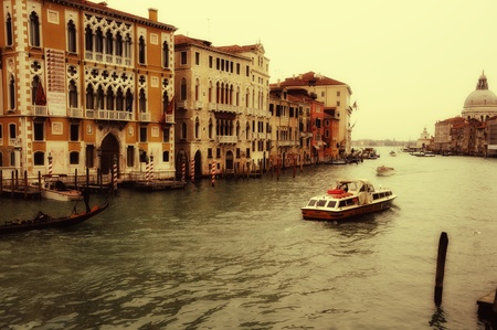 grand Canal of Venise with boat and gondola Stock Photo