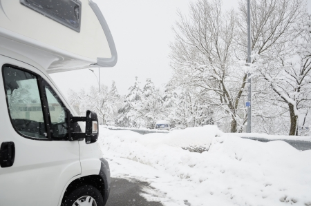 snowed: camper with snowy background .