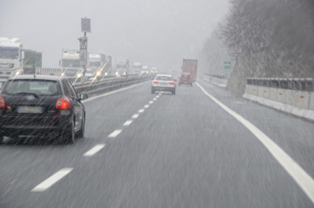 bad weather on the motorway Stock Photo