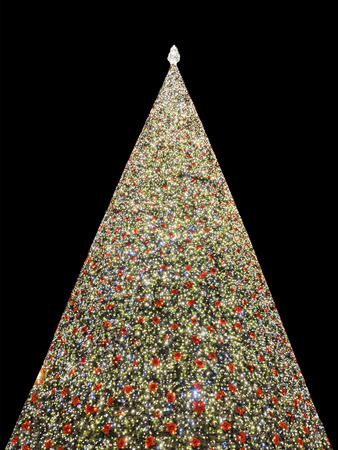 a big christmas tree illuminated Stock Photo