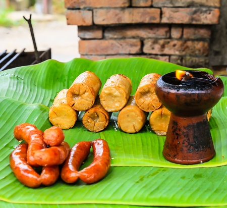 Pork and Sausage in thailand Stock Photo