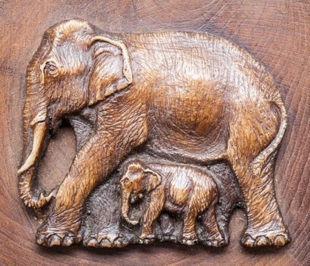 ancient elephant: Elephant made from wood, Thailand