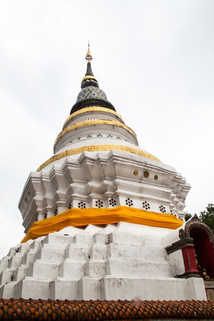 White pagoda  at Wat ket, public temple, in Chiang Mai Thailand Stock Photo