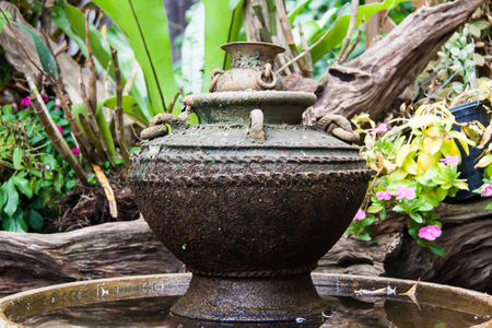 Earthenware jar with lid used for water storage
