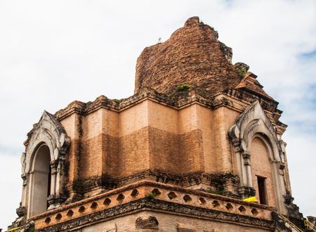 Ancient Pagoda build from brick at Wat Chedi Luang in Chiang Mai Thailand
