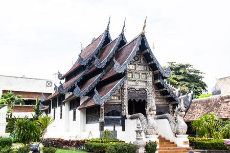 Ancient Pagoda build from brick at Wat Chedi Luang in Chiang Mai Thailand. Stock Photo