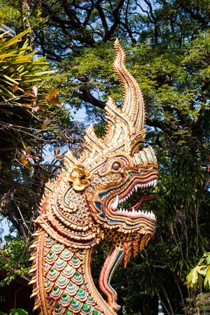 Dragon in front of the temple Stock Photo