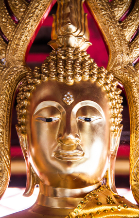 close-up image of golden buddha sculture Stock Photo