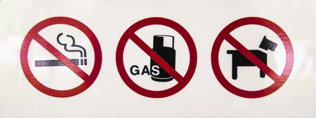 No smoking, no gas, no animal Stock Photo - 78786380