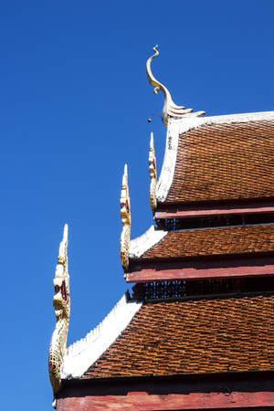 Thai style art on the roof in temple, Thailand Stock Photo