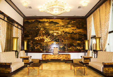 feudalism: Ho Chi Minh City, Vietnam - Feb 24 2017: State Banqueting Hall at Independence Palace. a famous Historical Museum in Ho Chi Minh City, Vietnam.