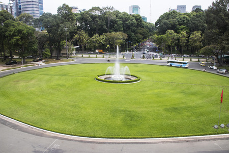 Ho Chi Minh City, Vietnam - Feb 24 2017: Lawn front  of Independence Palace. a famous Historical Museum in Ho Chi Minh City, Vietnam.