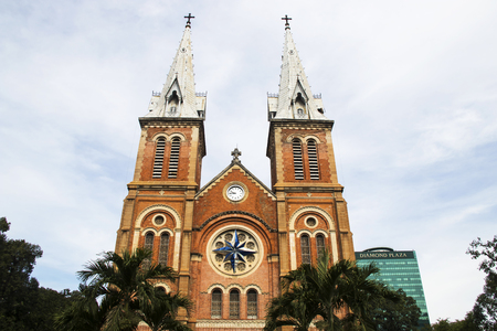 was: HO CHI MINH CITY, VIETNAM - Feb 24 , 2017 :  The Notre-Dame Cathedral in Ho Chi Minh City. This cathedral was constructed between 1863 and 1880. Stock Photo