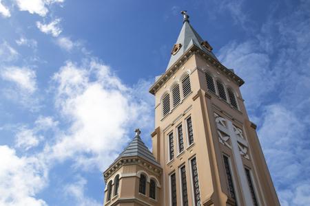 colonial church: Dalat cathedral in Dalat, Vietnam. Stock Photo