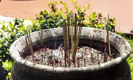 Incense and smoke incense in the temple Stock Photo