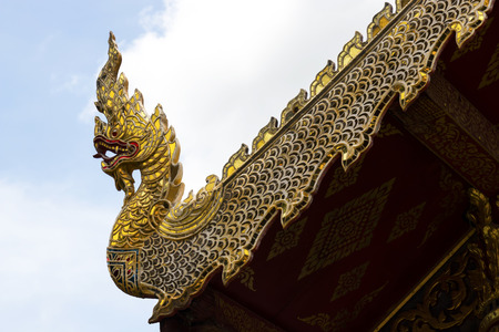Roof gable Golden Thai style temple