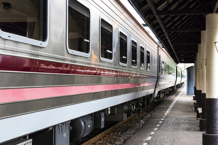 Samsen - Thailand - July 02, 2017: Thai Railways regional train on Track One at the Samsen Railway Station Editorial