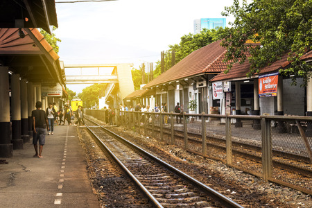 Samsen - Thailand - July 02, 2017: Thai Railways train ,the Samsen Railway Station, Thailand