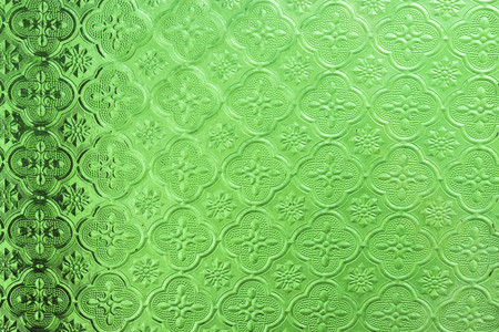 Green Stained glass windows background Stock Photo