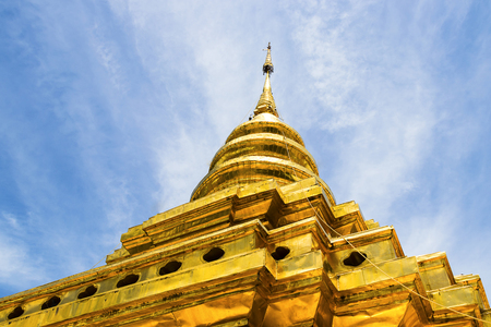 Gold pagoda in jomthong temple, Chiangmai, Thailand.
