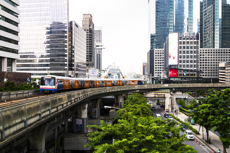 Bangkok, Thailand September 12, 2017: The Bangkok Mass Transit System, commonly known as the BTS Skytrain is an elevated rapid transit system.